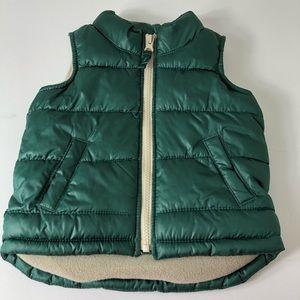 Old Navy Puffer Vest Green Jacket Warm